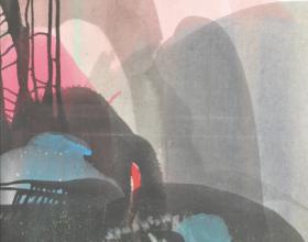 """46-Raphael Scott Ahbeng """"Garden in the Sky"""" (2008) Acrylic on canvas, 88.5 x 58"""