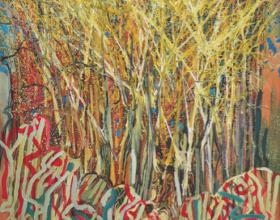 "48-Raphael Scott Ahbeng ""Hutan Tua"" (2009) Acrylic on canvas 122 x 91 cm SOLD"
