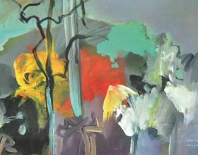 "54-Raphael Scott Ahbeng ""Pisa Woods"" (2010) 30.5 x 45.5 cm Oil on Board"