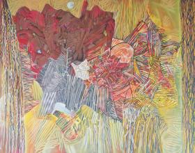"""59-Raphael Scott Ahbeng """"Woods"""" (2008) 180 x 243 cm, Acrylic on canvas"""