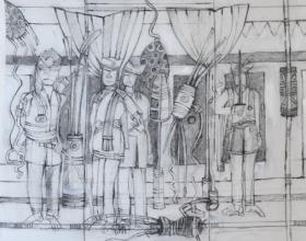 64-Zulkifli Yusoff, Tuan yang Berani 4, 1995, Charcoal on canvas, 90 x 90 cm
