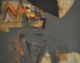 """8-Awang Damit Ahmad, Marista """" Ingatan Yang Tersisa II"""" (2001) Mixed Media on Canvas 110 x 118.5 cm"""