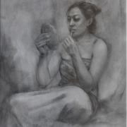 Berdandan, 2002 RM 5,000.00 - RM 6,500.00 | Charcoal on paper | 63 x 45 cm