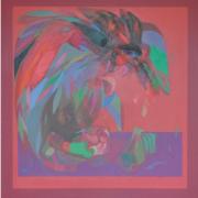 4-Fighting Cockerel, 1971 RM 418,000.00-SOLD | Acrylic on canvas | 137 x 127 cm