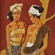 Two Sisters, Undated RM 5,500.00-SOLD | Batik | 92 x 69 cm