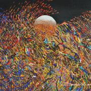 """5-RM 4,950.00-SOLD Ismail Latiff """"Magic in the sky…Goldrock""""-view No.1 (2000) 27 x 36 cm Acrylic on paper PRIVATE MUSEUM"""