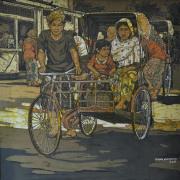 10-RM 22,000.00-SOLD Ismail Mat Hussin _Two trishaws_ (2008) Batik 76cm x 92cm RM 32000