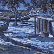 """11-RM 20,900.00-SOLD Ismail Mat Hussin """"Pantai Sabak Boats"""" (2008) Batik, 62cm x 113cm"""