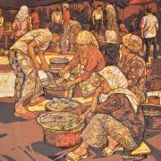 2-Market Scene, 2011 RM 20,900.00-SOLD | Batik | 76 x 92 cm