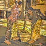 4-Pounding Rice, 2009 RM 11,000.00-SOLD | Batik | 90 x 76 cm