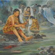 7-Pagi yang Damai, 1995 RM 19,800.00-SOLD | Oil on canvas | 80 x 96.5 cm