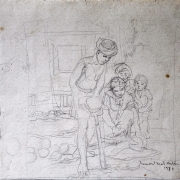 Ismail Mat Hussin, Untitled 1978, 18 x 26cm Pencil on paper, Signed and dated %22Ismail Mat Hussin 1978%22 on lower right