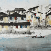 """6-Jehan-Chan-B.-Melaka,-1937-2011--Houses-by-the-River,-2000--Signed-and-dated-""""Jehan-Chan-2000"""",-with-one-seal-of-the-artist-on-lower-left-Watercolour-on-paper-71-x-94-cm"""