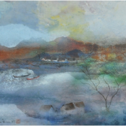 1-Village, 1989 RM 5,500.00-SOLD | Mixed media on paper laid on board | 49 x 59.5 cm