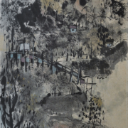 5-Village Landscape, 1961 RM 7,840.00-SOLD | Ink and colour on paper 90.2 x 36.8 cm