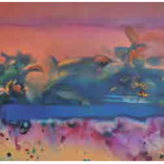 11-River Birds, 2012 RM 35,200.00-SOLD | Oil and acrylic on canvas | 61 x 122 cm
