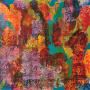 87-Kelvin-Chap,-The-Land-of-the-Headhunters-(Borneo-Series),-2003,-Mixed-media-on-canvas,-131-x-131-cm,-Name,-title-and-dated-on-verso
