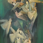 10-Doves, 2011 RM 6,600.00-SOLD | Oil on canvas| 80 x 45 cm