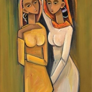 14-Two Sisters, 2012 RM 5,600.00-SOLD |Oil on canvas | 80 x 45 cm