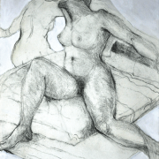 22-RM 17,050.00-SOLD Lot 64 Khalil Ibrahim, Nude Portrait - Australian Lady, 1994, Charcoal and acrylic on paper 76 x 56 cm