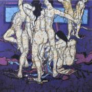 26-Movement in Blue,1985RM 100,100.00-SOLD | Batik | 92 x 91 cm