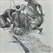 39-East Coast Fishermen, 1998 RM 3,300.00-SOLD | Ink on paper | 13 x 13 cm