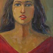 41-RM 14,300.00-SOLD Khalil Ibrahim _Portrait of a Lady_ (2005) Acrylic on Canvas 35cm x 52 cm RM 22,000