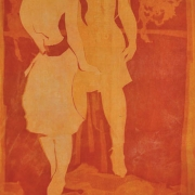 42-Two Figures, 1986 RM 49,500.00-SOLD | Batik with newsprint | 49 x 74.5 cm