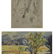 49-Figures Study, 2010 & Landscape, 1986 RM 4,032.00-SOLD | Watercolour on paper | 7 x 8.5 cm