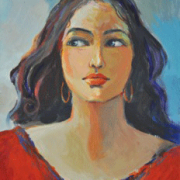 52-RM 16,800.00-SOLD Khalil Ibrahim _Portrait of A Lady in Red_ (2003) Acrylic on Canvas 28 cm X 38.5 cm RM 28,000