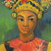 "56-RM 9,520.00-SOLD Khalil Ibrahim ""Portrait of a Balinese Lady"" (1975) 46cm X 32cm Acrylic on CanvasRM 38,000"