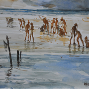 "57-RM 2,240.00-SOLD Khalil Ibrahim ""East Coast Bayang Bayang "" (2001) 21cm X 28cm Watercolour on Paper RM 6800"