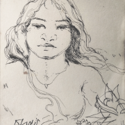 Khalil-Ibrahim-B.-Kelantan-1934-2018-Portrait-Study-1-of-Imaginary-Malay-Girl-from-1980s-1990s-sketch-book-Pen-on-paper-12-x-9-cm