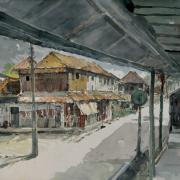 13-Kota Bharu Village, 2004 RM 11,000.00-SOLD   Watercolour on paper   54 x 53 cm