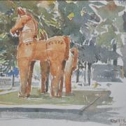 17-RM 2,750.00-SOLD Lot 3 Khalil Ibrahim, Terracota Horse Indian Series, 2001, Watercolour on paper 38 x 28.5 cm