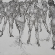 2-The Spirit of the East Coast & Sanur Nude Series, 2005 RM 12,100.00-SOLD   Ink on paper   42 x 59 cm