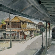 Khalil Ibrahim %22Kota Bharu Village%22 Watercolour on Paper 54cm x 53cm 2004 RM 28,000