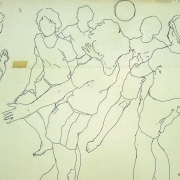 Khalil Ibrahim Ink %22Netball Sketch%22 (1985) Ink on Paper 39 x 26.5 RM 3,800 - 6,000