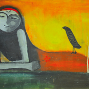 16-Girl with a Flower, 1968 RM 66,000.00-SOLD   Oil on board   61 x 81 cm