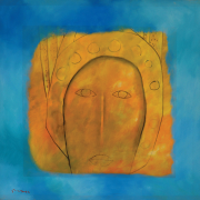 21-RM 29,120 Face in Gold, 1996 Oil on canvas 90 x 90 cm