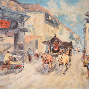 RM 2,800 Ox Cart in Chinatown, Undated Oil on canvas 40 x 50 cm