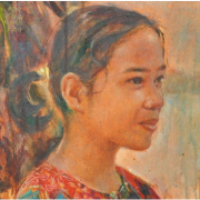 1-A Little Beauty, 1999 RM 7,700.00-SOLD | Oil on canvas | 24 x 23.5 cm