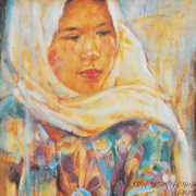 4-RM 9,900.00-SOLD Kow Leong Kiang, Innocence Series, 1999, Oil on canvas 23.5 x 23.5 cm