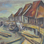 3-Houses on Stilts, Undated RM 10,450.00-SOLD | Oil on board | 47 x 55 cm