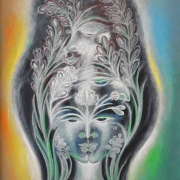2-Multi Faces, 1989 RM 7,150.00-SOLD | Oil on canvas | 100 x 29 cm