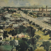 Singapore Causeway, 1972 Watercolour on paper, 51.5 x 75 cm