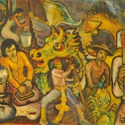 Malaysian Festival, 1950s RM 17,600.00-SOLD | Oil on board | 75 x 120 cm