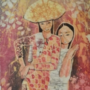 15-Two Sisters, Undated RM 3,360.00-SOLD | Batik | 46 x 20.5 cm