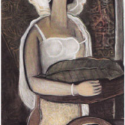 1-Single Woman, 1997 RM 14,300.00-SOLD | Oil on canvas | 105 x 56 cm