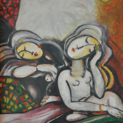 14-Resting, 2005 RM 5,040.00-SOLD | Oil on canvas | 33.5 x 25.5 cm